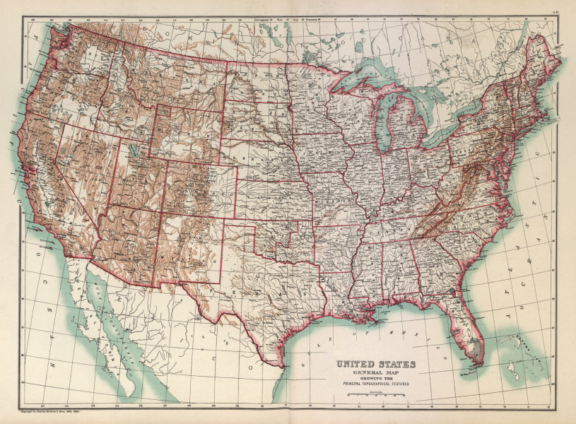 Associate Product United States of America Topographical. Mountains & Rivers. BARTHOLOMEW 1898 map