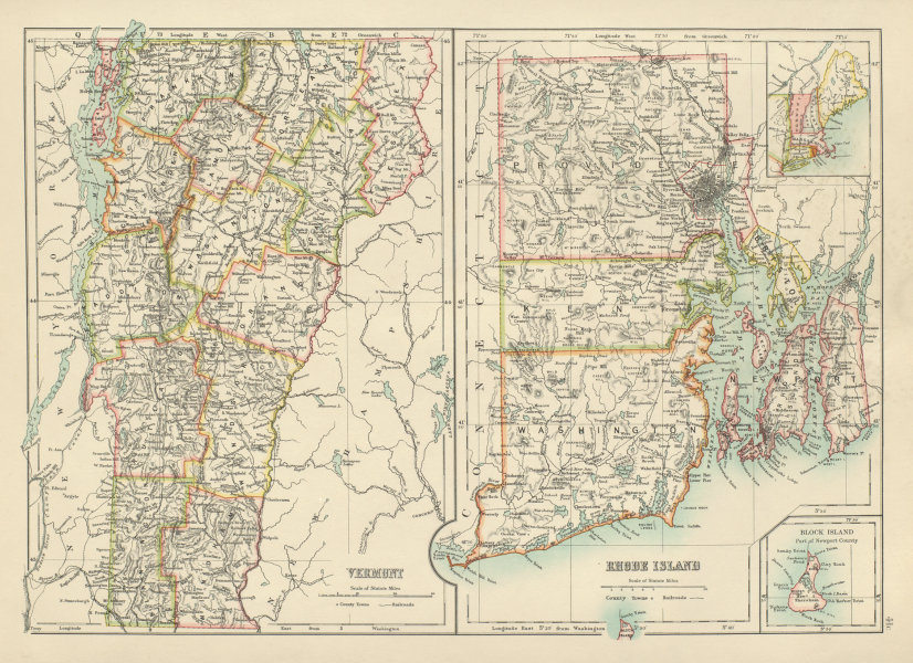 Details about Rhode Island and Vermont state maps showing counties.  BARTHOLOMEW 1898 old