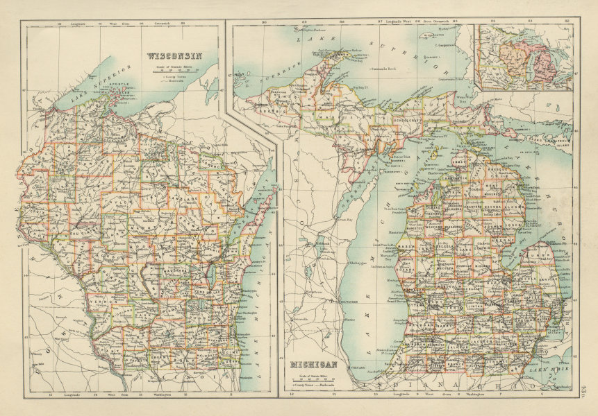Associate Product Michigan and Wisconsin state maps showing counties. BARTHOLOMEW 1898 old