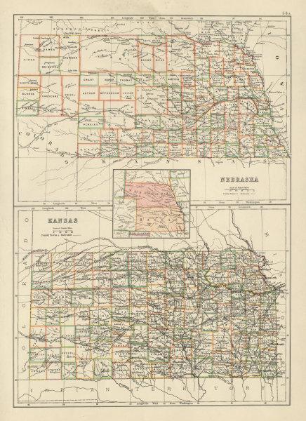 Associate Product Nebraska and Kansas state maps showing counties. BARTHOLOMEW 1898 old