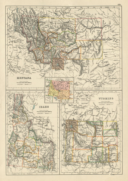 Details About Montana Idaho And Wyoming State Maps Showing Counties Bartholomew 1898