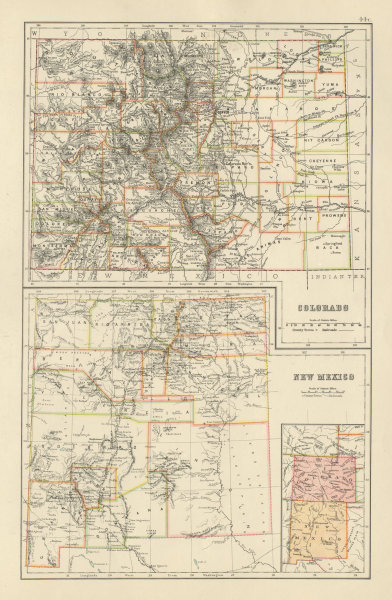 Associate Product Colorado and New Mexico state maps showing counties. BARTHOLOMEW 1898 old