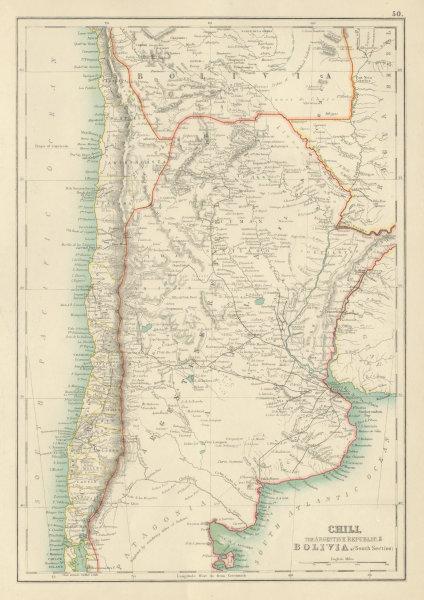 Associate Product Chili Argentine Republic Bolivia. Chile Argentina Railways. BARTHOLOMEW 1898 map