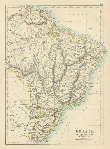 Associate Product Brazil, Uruguay, Paraguay & Guayana. Guyanas. BARTHOLOMEW 1898 old antique map