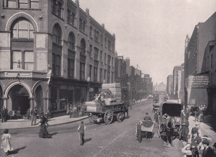 Associate Product Curtain Road - From the Corner of Great Eastern Street. London 1896 old print
