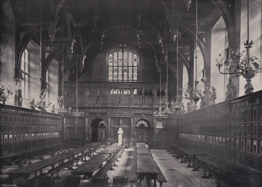 Associate Product Middle Temple Hall - General view of the Interior. London 1896 old print
