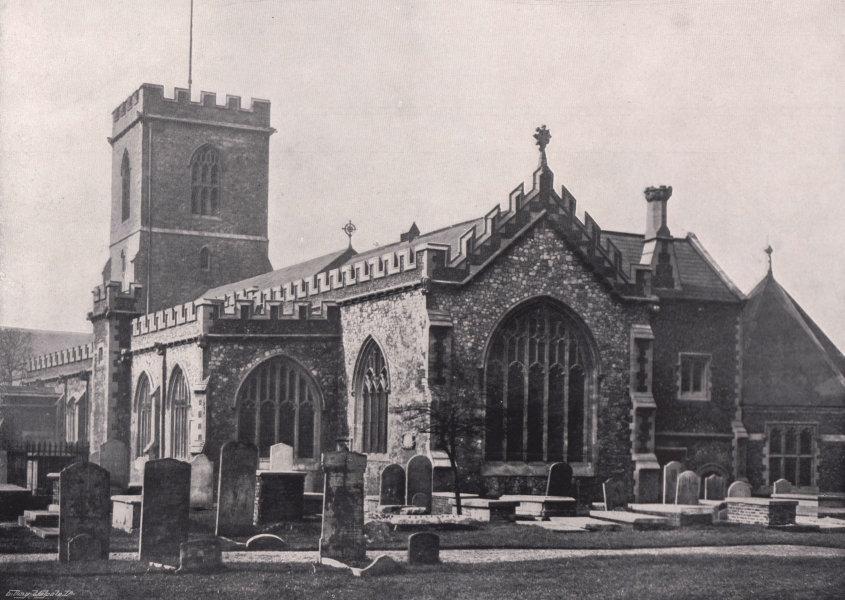 Associate Product St. Dunstan's Church, Stepney - From the Graveyard. London 1896 old print