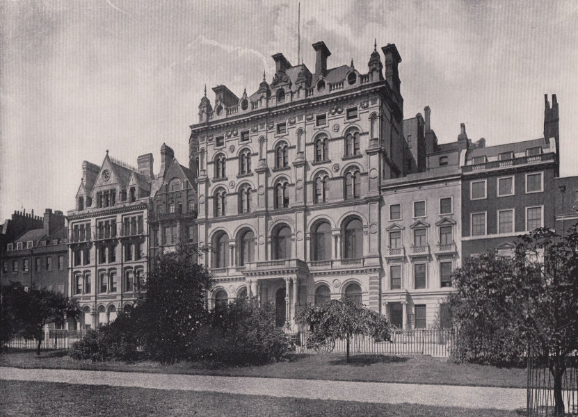 Lincoln's Inn Fields - Showing the Inns of court hotel. London 1896 old print