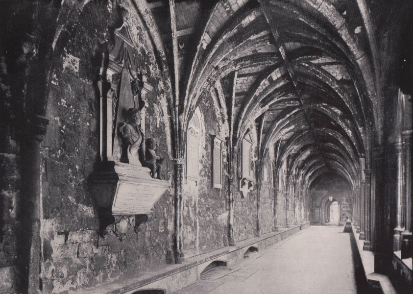 Associate Product Westminster Abbey - The Cloister. London 1896 old antique print picture