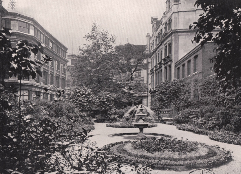 Draper's Hall - The gardens. London 1896 old antique vintage print picture