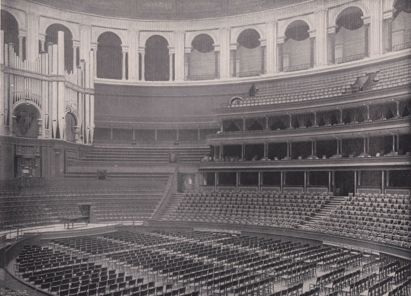 Associate Product Royal Albert hall - the Interior. London 1896 old antique print picture
