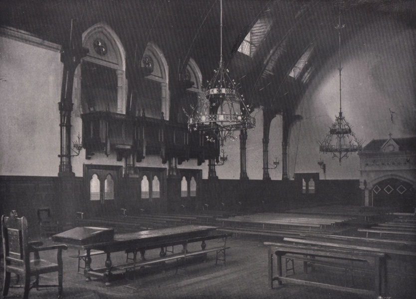Associate Product Merchant Taylors' school - Interior of the great hall. London 1896 old print