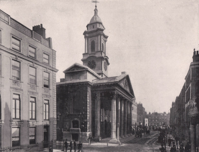 Associate Product St. George's, Hanover Square - from George street. London 1896 old print