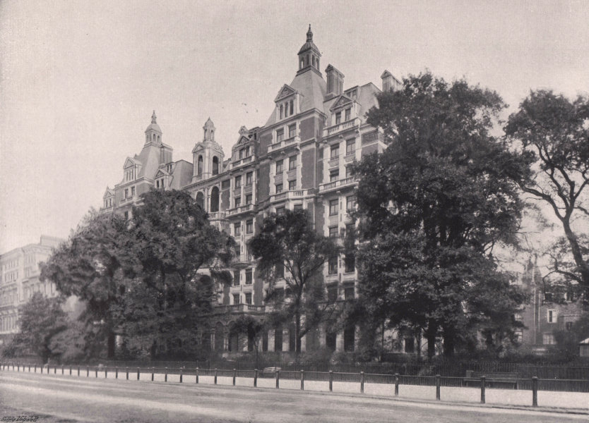 Associate Product Hyde park Court - from the park. London 1896 old antique vintage print picture