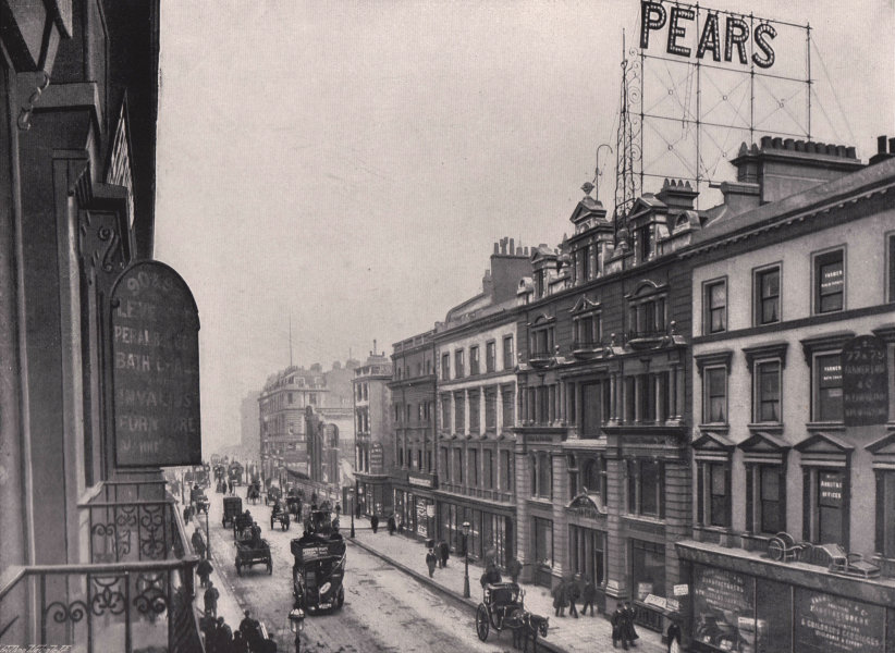 New Oxford Street - Looking Towards Holborn. London 1896 old antique print