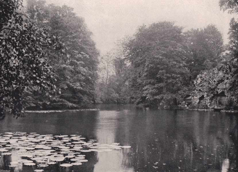 Associate Product Wanstead Park - view on the lake. London 1896 old antique print picture