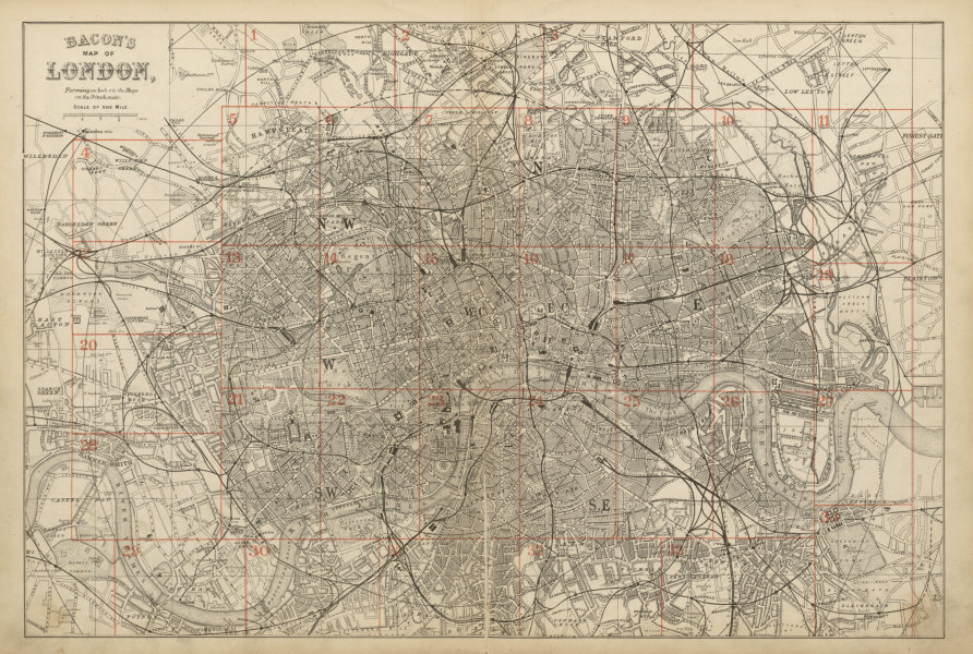 Associate Product GREATER LONDON ENVIRONS. General Index map to 9 inch scale maps. BACON c1887
