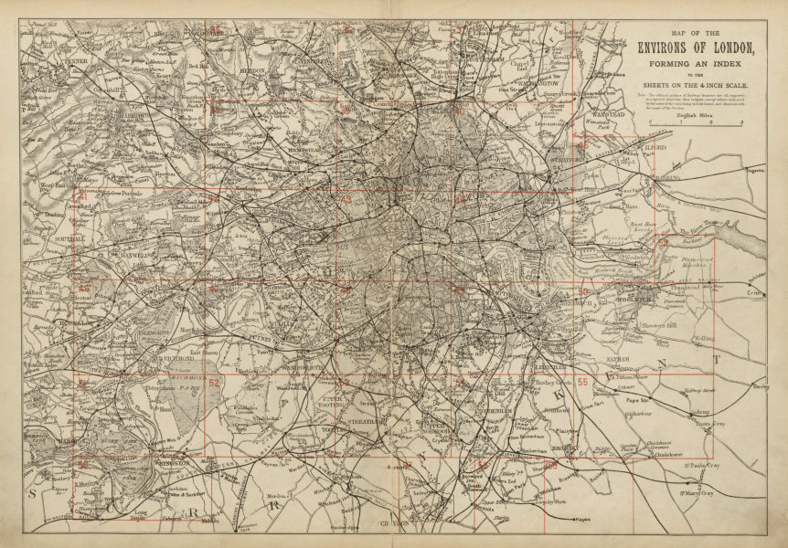 Associate Product GREATER LONDON ENVIRONS. General Index map to 4 inch scale maps. BACON c1887