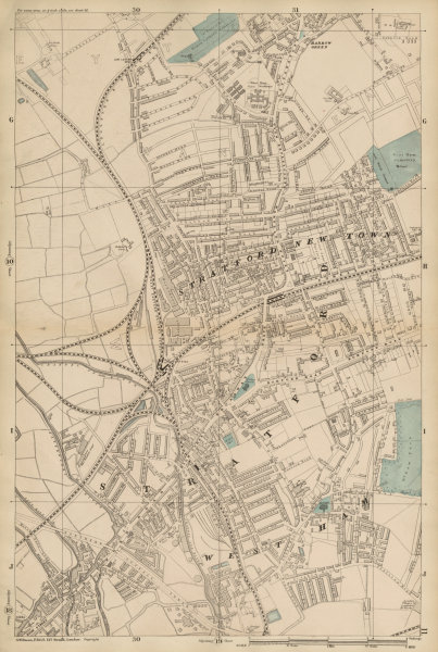 Associate Product EAST LONDON Stratford New Town West Ham Leyton Maryland Westfield site c1887 map
