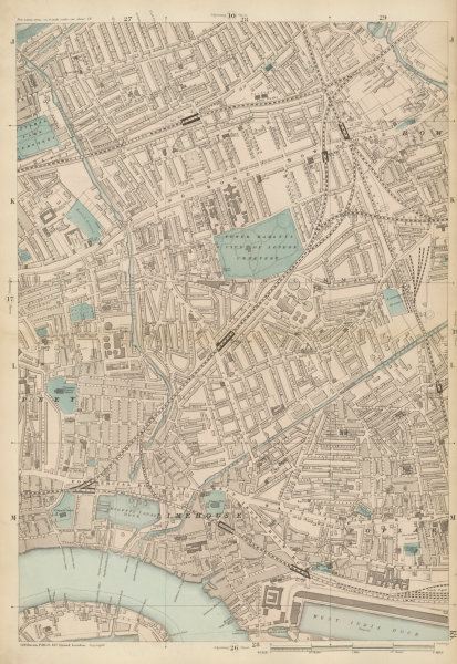 Associate Product TOWER HAMLETS Bow Poplar Stepney Limehouse Mile End Bromley c1887 old map