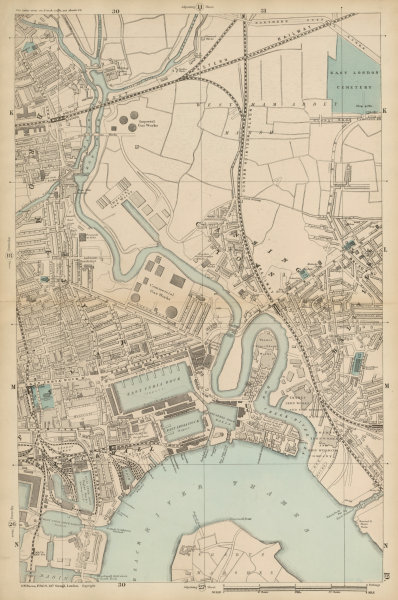Associate Product CANNING TOWN Bromley Blackwall Bow Creek River Lea West Ham Plaistow c1887 map