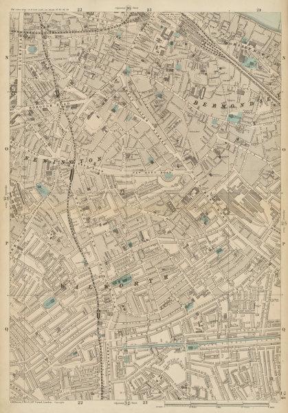 Associate Product BERMONDSEY Newington Elephant & Castle Borough London Bridge Southwark c1887 map
