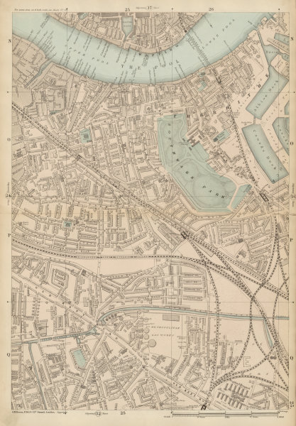 Associate Product BERMONDSEY Rotherhithe Old Kent Road Wapping Canada Water Surrey Quays c1887 map