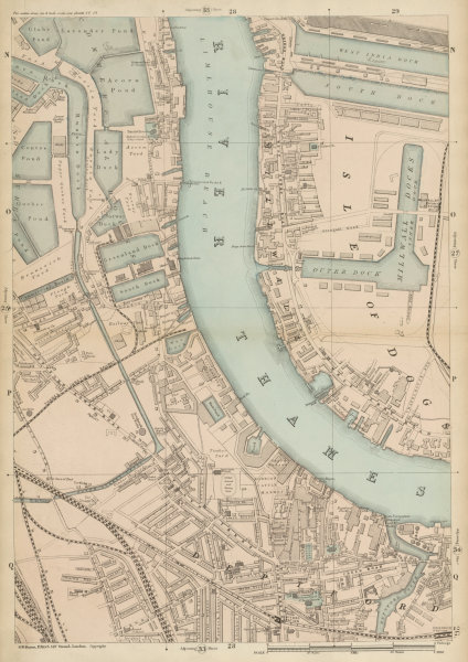 Associate Product MILLWALL DEPTFORD Surrey & West India Docks Isle of Dogs Canary Wharf c1887 map