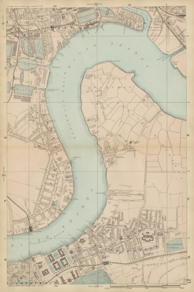 Associate Product North GREENWICH Peninsula & BLACKWALL Cubitt Town West India Docks c1887 map