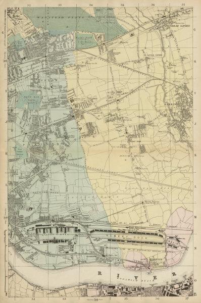 Associate Product LONDON Royal Docks Woolwich Wanstead West/E Ham Beckton Barking Ilford c1887 map