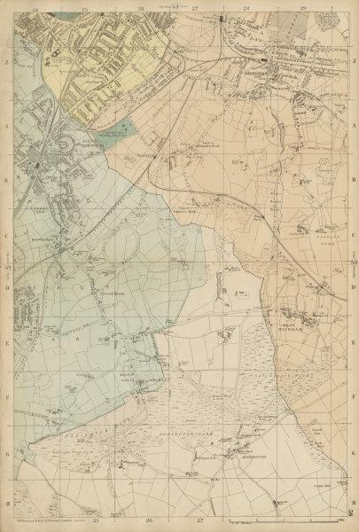 Associate Product S LONDON Beckenham West Wickham South Norwood Penge Woodside Addington c1887 map