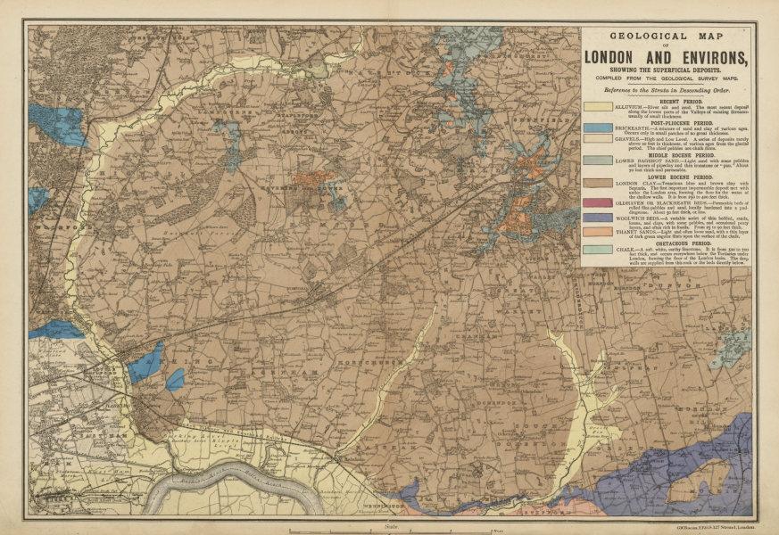 Associate Product NE LONDON GEOLOGICAL Essex Redbridge Newham Barking Dagenham &c.BACON c1887 map