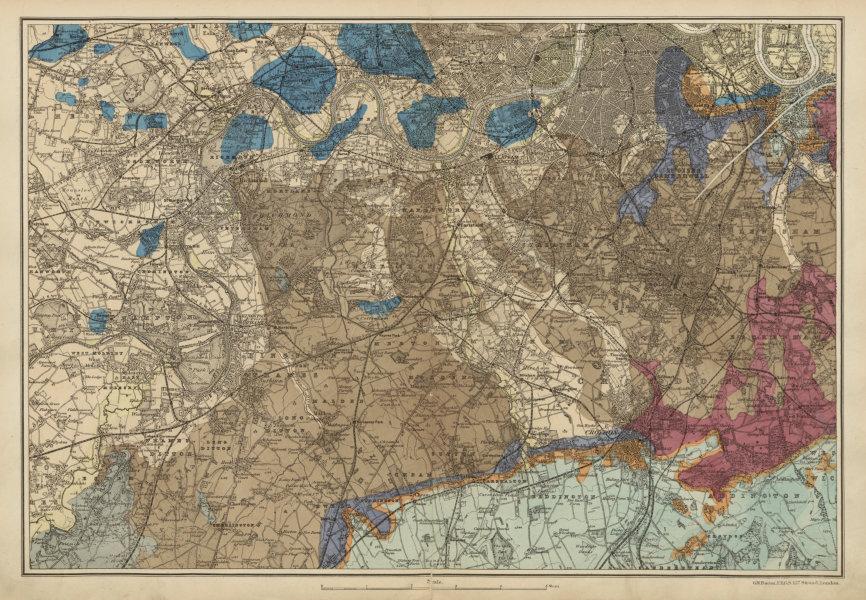 Associate Product SW LONDON GEOLOGICAL K&C Fulham Surrey Richmond Wandsworth &c. BACON c1887 map