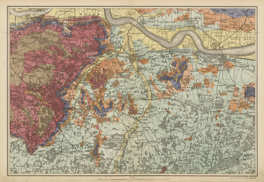 Associate Product SOUTH EAST LONDON GEOLOGICAL Kent Greenwich Bexley Bromley &c. BACON c1887 map