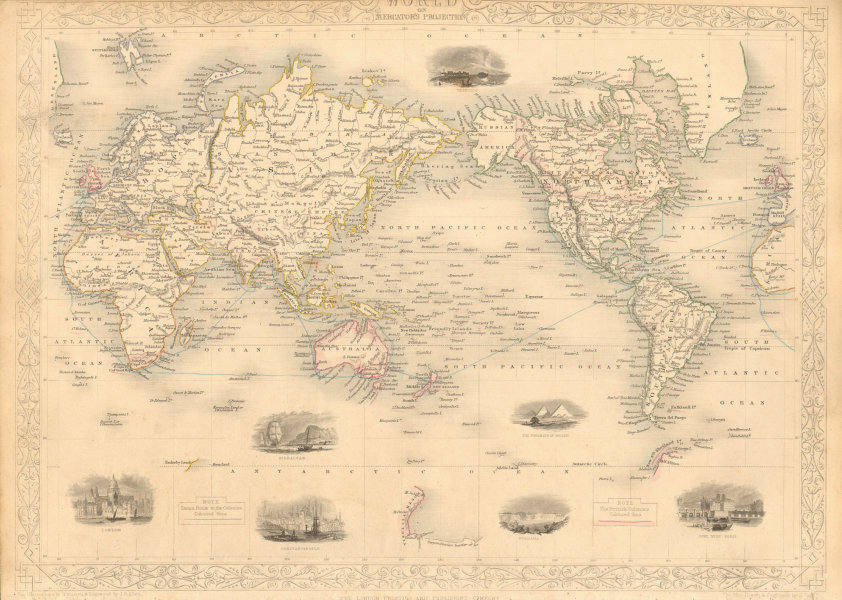 Associate Product WORLD MERCATOR showing mail routes to British colonies. RAPKIN/TALLIS 1851 map
