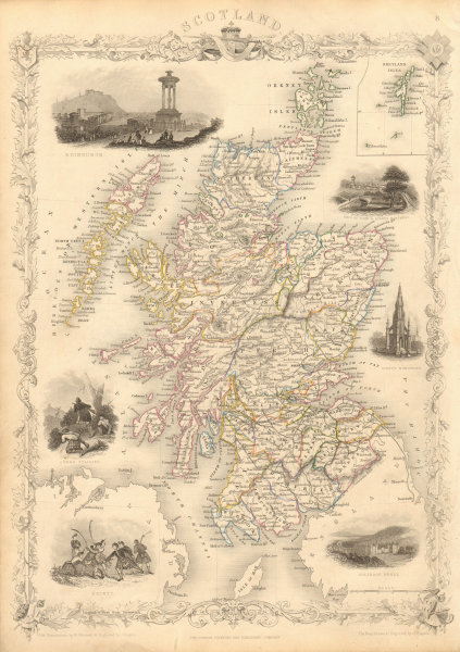 Associate Product SCOTLAND Edinburgh, Holyrood & Shinty views. Counties. TALLIS & RAPKIN 1851 map