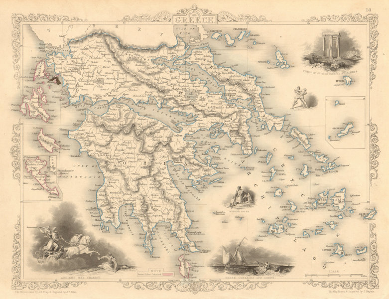 Associate Product GREECE with United States of the Ionian Islands in pink. RAPKIN/TALLIS 1851 map