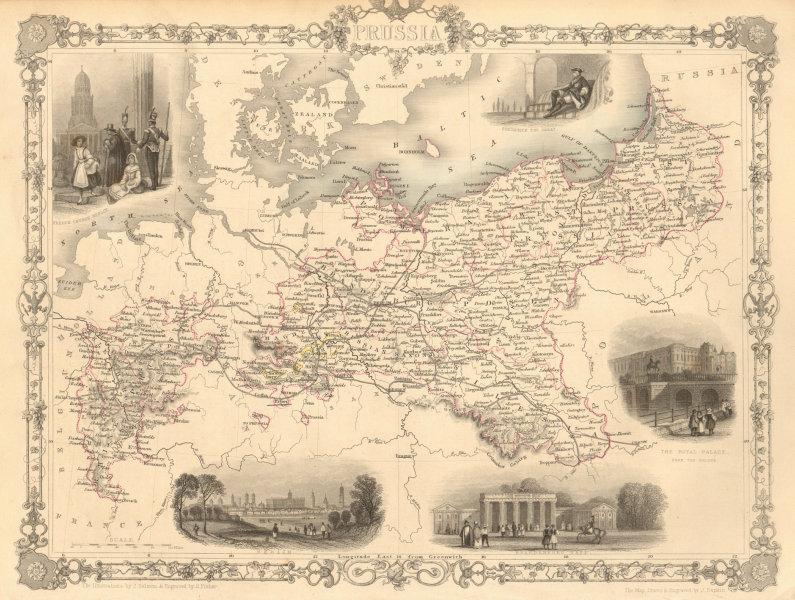 Associate Product PRUSSIA with views of Berlin & Brandenburg gate. TALLIS & RAPKIN 1851 old map