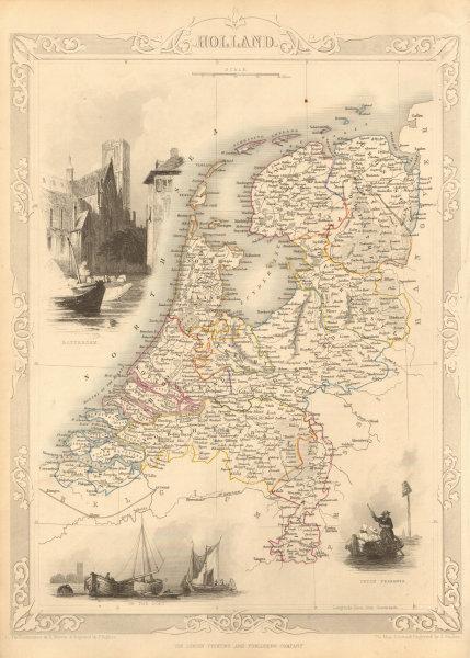 Associate Product HOLLAND. Netherlands in provinces. Rotterdam view. TALLIS & RAPKIN 1851 map