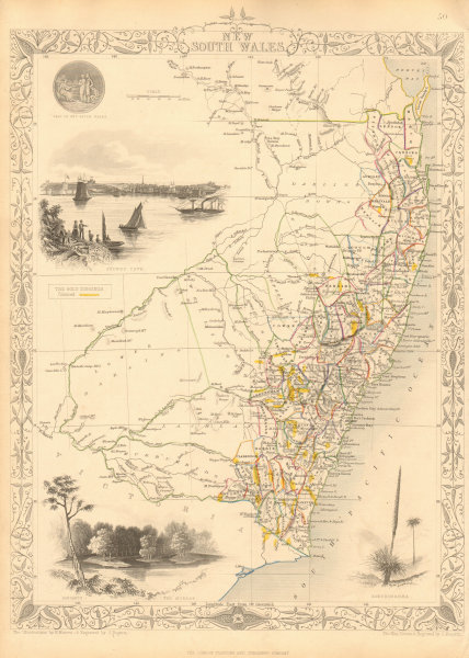 Associate Product NEW SOUTH WALES showing Gold Rush fields/diggings. Sydney RAPKIN/TALLIS 1851 map