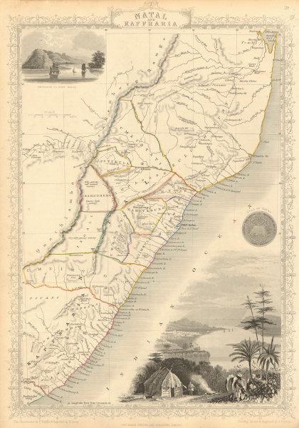 Associate Product NATAL & KAFFRARIA. South Africa. Eastern Cape & Durban. TALLIS & RAPKIN 1851 map