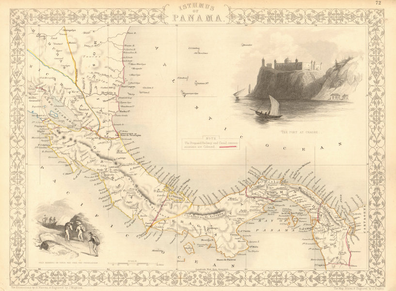 Associate Product PANAMA ISTHMUS shows 7 proposed canal, rail & road routes RAPKIN/TALLIS 1851 map
