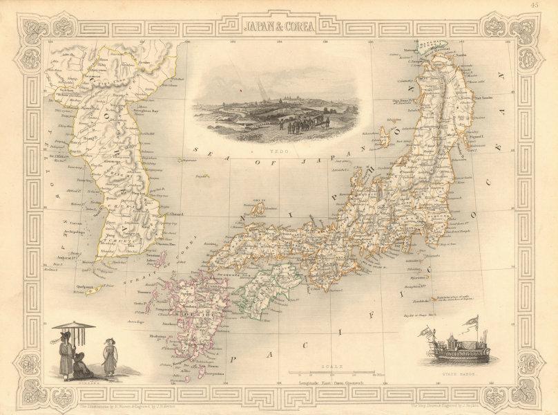 Associate Product JAPAN & COREA /Korea. Yedo (Tokyo) King-ki-Tao (Seoul). TALLIS & RAPKIN 1851 map