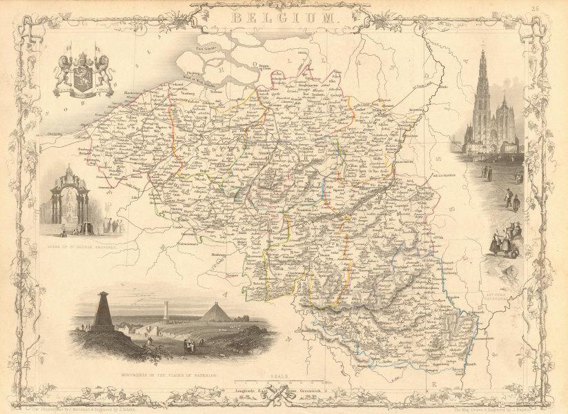 Associate Product BELGIUM & Luxembourg. Napoleonic battlefields marked. TALLIS & RAPKIN 1851 map