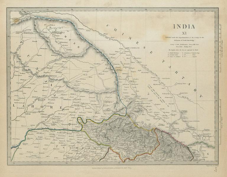 INDIA PAKISTAN Punjab Garhwal Lahore Sirhind China Kashmir SDUK 1844 old map