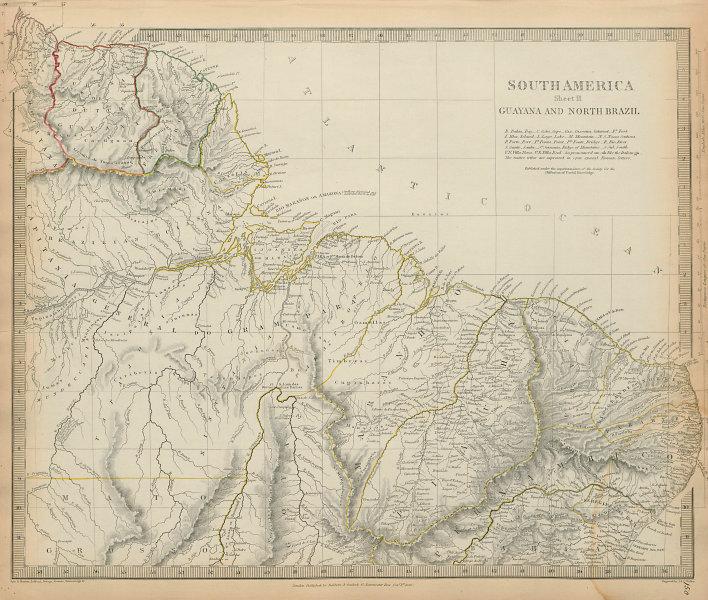 AMAZONIA. Indian tribes Guyana Surinam North Brazil Recife SDUK 1844 old map