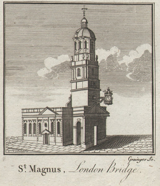 St. Magnus-the-Martyr church, London Bridge. Wren. City. SMALL. THORNTON 1784