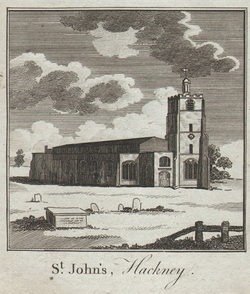 The old church of St. John-at-Hackney. SMALL. THORNTON 1784 antique print