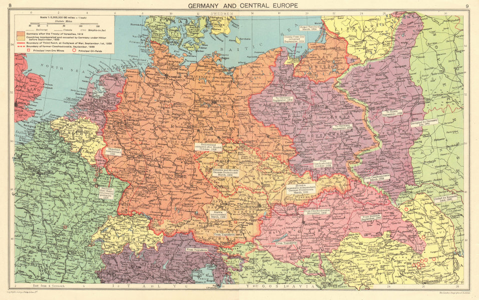 NAZI GERMANY Growth of the Third Reich. Occupied Poland Sudetenland &c 1943 map