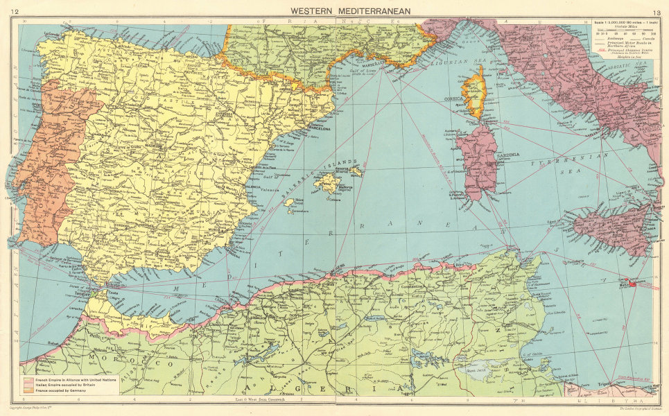 WORLD WAR 2. German occupied France. Allied occupied North Africa 1943 old map